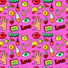 Lips Hands Cosmetics and Emoticons Seamless Pattern. Fashion Background in Retro Comic Style. Vector illustration
