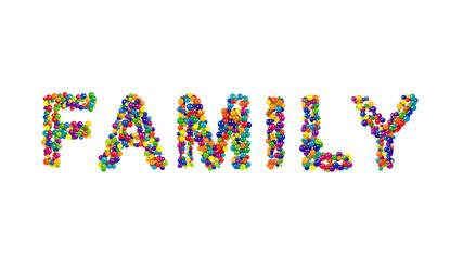 Colorful balls forming the word family