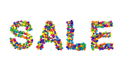 Sale design formed of rainbow colored balls