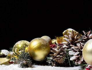 Christmas New Year Composition with Balls Fir cones Black Backgr