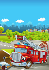 Cartoon stage with different machines for firefighting - truck - colorful and cheerful scene - illustration for children