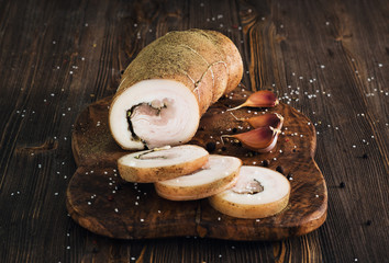 Lard roll with salt and garlic