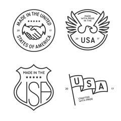 Made in usa labels badges stamps set. Vector vintage monochrome illustration.