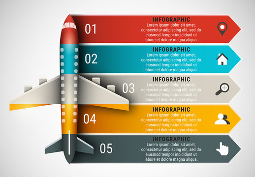 Airplane Element Infographic with Grayscale Icon Set