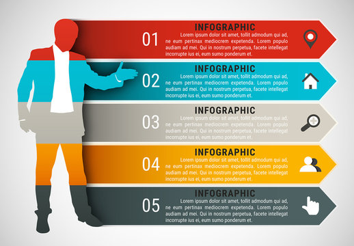 Businessperson Element Infographic with Grayscale Icon Set