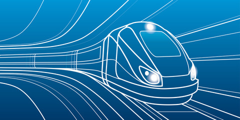 Train in motion, locomotive move, dynamic transport illustration, vector lines design