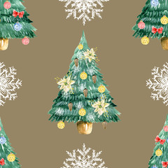 Seamless pattern with Christmas tree and snowflakes. Watercolor hand drawn