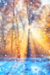 Abstract blur winter background with snow flakes