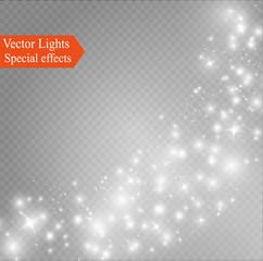 Glow light effect. Vector illustration. Christmas flash Concept.dust