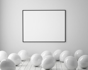 mock up poster in interior background with white balloons on the floor, 3D render. 3D illustration