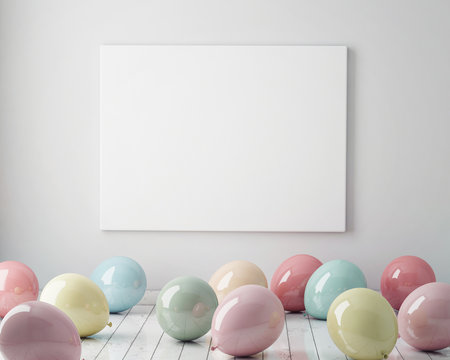 mock up poster in interior background with colorful pastel balloons on the floor, 3D render. 3D illustration