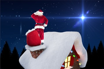Digitally generated image of santa claus standing on house roof