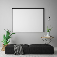 mock up blank poster on the wall of hipster living room, scandinavian style, 3D rendering, 3D illustration