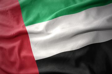 waving colorful flag of united arab emirates.