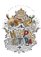 Birthday card design vintage style template