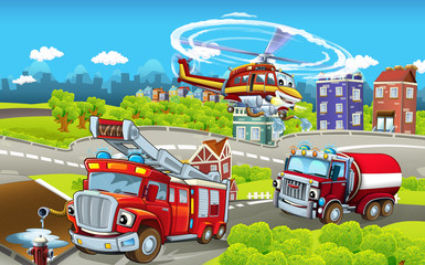 Cartoon stage with different machines for firefighting - trucks and helicopter - colorful and cheerful scene - illustration for children