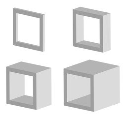 Set of 3d square model icons with different depths