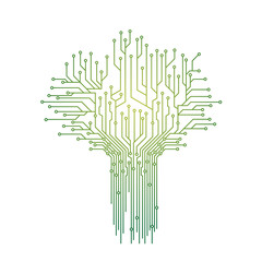Green Tree Computing Circuit Board Vector Illustration