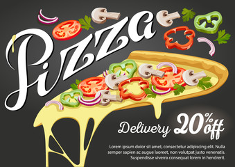Pizza slice vector for advertising design of restaurant business.