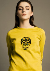 Beautiful fashion model wearing  jumper scull