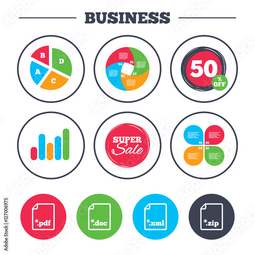 Business Pie Chart Growth Graph Download Document Icons File
