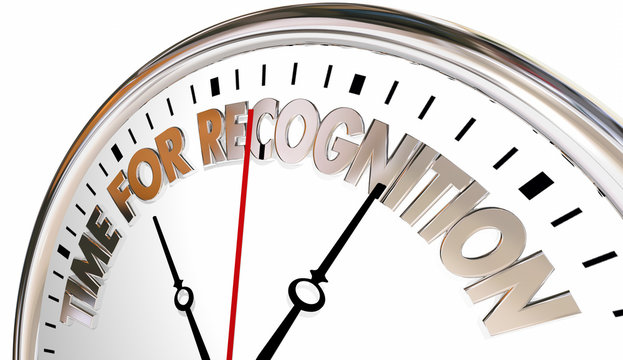 Time for Recognition Appreciation Thank You Clock 3d Illustratio
