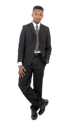 businessman full vertical view on white background