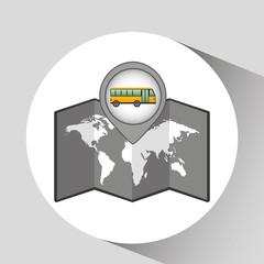 school bus yellow map pointer design vector illustration eps 10