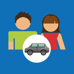 couple with car sedan design vector illustration eps 10