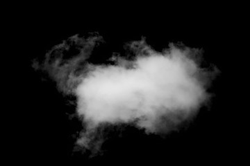 Single White clouds isolated on black background