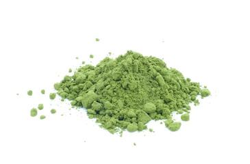 Green tea powder on white background.