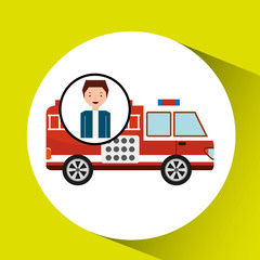 man cartoon firetruck icon graphic vector illustration eps 10