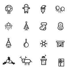 christmas tree santa snowman gift line flat icon set vector