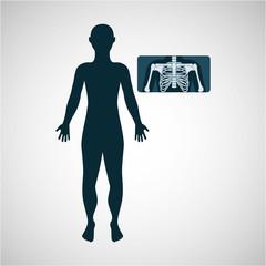 silhouette man x ray anatomy body vector illustration eps 10