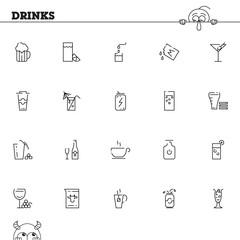 Drinks flat icon or logo set for web design.