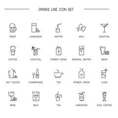 Drinks flat icon or logo set for web design.