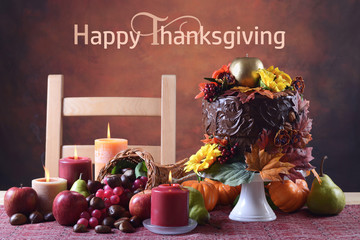 Thanksgiving Autumn Fall Theme Chocolate Cake