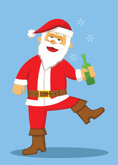 Drunk Santa Cartoon Illustration