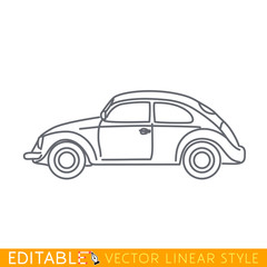Classic car. Outline sketch icon.