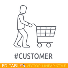Hashtag Business customer with shopping trolley. Sketch line flat icon commerce purchaser. Modern vector illustration concept.