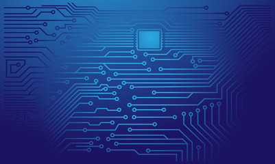 Blue Electronic Circuit Board with Processor Vector Background