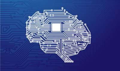 Electronic Brain Intelligent Circuit Board Vector Illustration Wallpaper