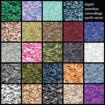 Set of Seamless Digital Camouflage pattern vector