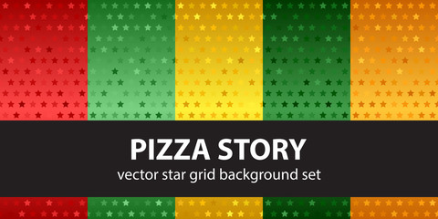 "Star pattern set ""Pizza Story"". Vector seamless backgrounds"