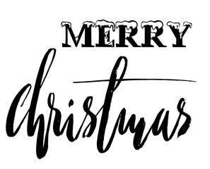 Classic lettering design for a Christmas greetings card. Black and white vector illustration