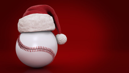 Christmas concept. Baseball ball. 3d rendering