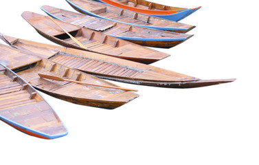Stock Photo:.old wooden row boat