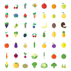 Fruits, berries and vegetables flat elements