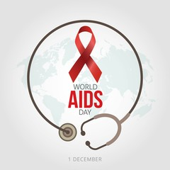 World AIDS Day 1st December vector illustration  Suitable