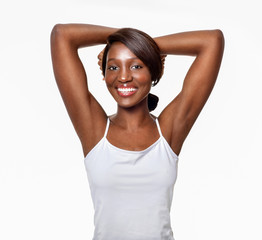 Beautiful  African-American woman. Black Beauty. Armpit's care.